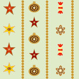 Seamless abstract Christmas background with stars and balls  illustration Stock Images