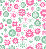 Seamless Abstract Christmas Pattern with Snowflakes  on Stock Image