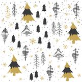 Seamless abstract Christmas trees pattern Royalty Free Stock Images