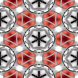 Seamless abstract chrome metallic red circular geometric texture or background Stock Images