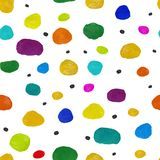 Seamless abstract circles gouache and acrylic pattern vector illustration