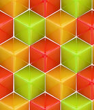 Seamless abstract colorful background. Made of cubes and hexagons Royalty Free Stock Photos