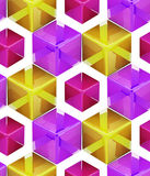 Seamless abstract colorful background. Made of cubes and hexagons Stock Images