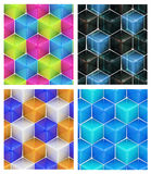 Seamless abstract colorful background. Made of cubes and hexagons set of four Royalty Free Stock Image