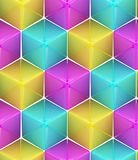 Seamless abstract colorful background. Made of cubes and hexagons Royalty Free Stock Photo