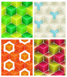 Seamless abstract colorful background. Made of cubes and hexagons set of four Royalty Free Stock Photos