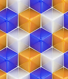 Seamless abstract colorful background. Made of cubes and hexagons Royalty Free Stock Images