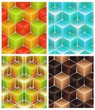 Seamless abstract colorful background. Made of cubes and hexagons set of four Royalty Free Stock Images