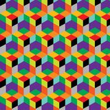 Seamless, abstract cube pattern. Colorful design, geometric. 3d vector wallpaper, cube pattern Stock Photo