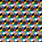 Seamless, abstract cube pattern. Colorful design, geometric. 3d vector wallpaper, cube pattern Royalty Free Stock Photo