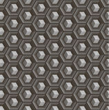 Seamless abstract 3D pattern - cubes in hex concave cells. Color gray - mid tone. Vector illustration royalty free illustration