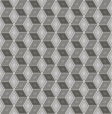 Seamless abstract 3D pattern - cubes in a skeleton of wire. Color gray - mid tone.  Vector illustration Stock Images