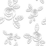 Seamless abstract 3D white background. Paper roses Royalty Free Stock Images