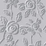 Seamless abstract 3D white background. Paper roses Royalty Free Stock Photo