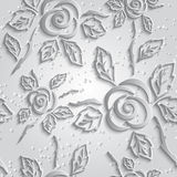 Seamless abstract 3D white background. Paper roses with drop Royalty Free Stock Images