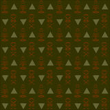 Seamless abstract dark green, khaki, orange background. Geometrical stylized human figures in the style of primitive wall paintings and triangles Stock Photo