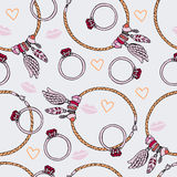 Seamless abstract decor pattern. With jewelry Stock Images