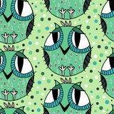 Seamless abstract decor pattern. With owl Stock Images