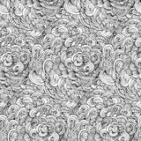 Seamless abstract doodle curly pattern. Hand drawing vector illustration. Repeating monochrome endless texture.  Stock Image