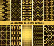 10 seamless abstract elegant geometric patterns. Set of 10 different seamless abstract elegant geometric patterns. Black, yellow, brown colors. Collection of Royalty Free Illustration