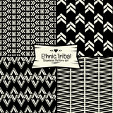 Seamless Abstract ethnic vector pattern in monochrome background Royalty Free Stock Image