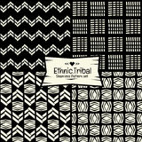 Seamless Abstract ethnic vector pattern in monochrome background Royalty Free Stock Images