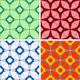 Seamless abstract figures pattern set. Seamless colored abstract figures pattern set Royalty Free Stock Photo