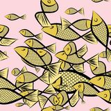 Seamless abstract fish illustrations background. Surface, backdrop, decoration & ocean. Seamless abstract fish illustrations background. Cartoon style vector Stock Photo