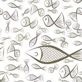 Seamless abstract fish illustrations background. Color, graphic, design & pattern. Seamless abstract fish illustrations background. Cartoon style vector graphic Royalty Free Stock Photography