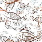 Seamless abstract fish illustrations background. Concept, design, cover & graphic. Seamless abstract fish illustrations background. Cartoon style vector graphic Stock Photo