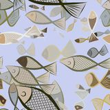 Seamless abstract fish illustrations background. Design, graphic, repeat & drawing. Seamless abstract fish illustrations background. Cartoon style vector Stock Photos