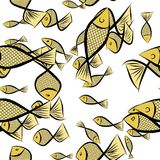 Seamless abstract fish illustrations background. Details, wallpaper, concept & drawing. Seamless abstract fish illustrations background. Cartoon style vector Royalty Free Stock Photo