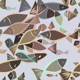 Seamless abstract fish illustrations background. Style, creative, pattern & repeat. Seamless abstract fish illustrations background. Cartoon style vector Royalty Free Stock Photos