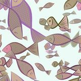 Seamless abstract fish illustrations background. Style, sketch, digital & surface. Seamless abstract fish illustrations background. Cartoon style vector graphic Royalty Free Stock Photography