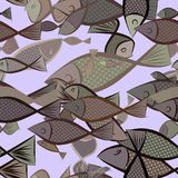 Seamless abstract fish illustrations background. Wild, ocean, details & sketch. Seamless abstract fish illustrations background. Cartoon style vector graphic Stock Photo