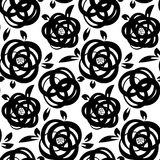 Seamless abstract floral background. Black and white roses Royalty Free Stock Image