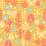Seamless abstract floral background. Botanical vector pattern. Paper floral elements. Cutout florals. Royalty Free Stock Images