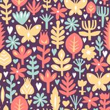Seamless abstract floral background. Botanical vector pattern. Paper floral elements. Cutout florals. Royalty Free Stock Image