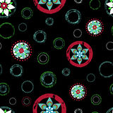 Seamless abstract floral background pattern, with circles, strok Royalty Free Stock Image