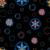 Seamless abstract floral background pattern, with circles, strok royalty free illustration