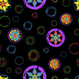 Seamless abstract floral background pattern, with circles, strok Royalty Free Stock Photography