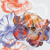 Seamless abstract floral background with roses, ha. Nd-drawing. Vector illustration royalty free illustration