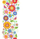 Seamless abstract floral border. With colorful flowers royalty free illustration