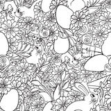 Seamless abstract floral doodle pattern. Stock Photos