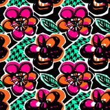 Seamless abstract floral ink hand drawn pattern Royalty Free Stock Photos