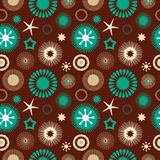 Seamless abstract floral pattern brown and blue Royalty Free Stock Photo