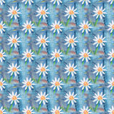 Seamless abstract floral pattern with chamomile flowers. Endless background. Fun and cute texture with cartoon chamomile Stock Images