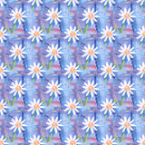 Seamless abstract floral pattern with chamomile flowers. Endless background. Fun and cute texture with cartoon chamomile Stock Photo