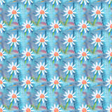 Seamless abstract floral pattern with chamomile flowers. Endless background. Fun and cute texture with cartoon chamomile Stock Photos