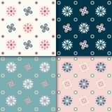Seamless abstract floral pattern. 4 colors variations, pastel colors vector illustration